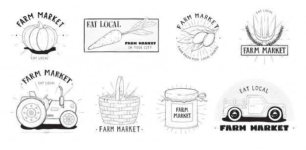 Zestaw Etykiet świeżej żywności. Różne Kolekcje Logo Rynku Rolnego. Ręcznie Rysowane Ilustracji Wektorowych. Premium Wektorów