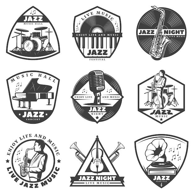 Zestaw Etykiet Vintage Monochromatyczne Muzyki Jazzowej Darmowych Wektorów