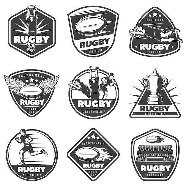 Zestaw Etykiet Vintage Monochromatyczne Rugby Darmowych Wektorów