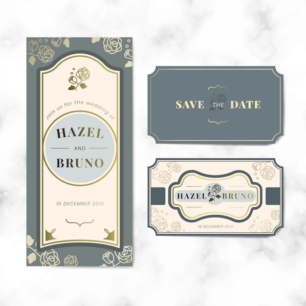 Zestaw etykiet wektor wesele zaproszenie etykiety Darmowych Wektorów