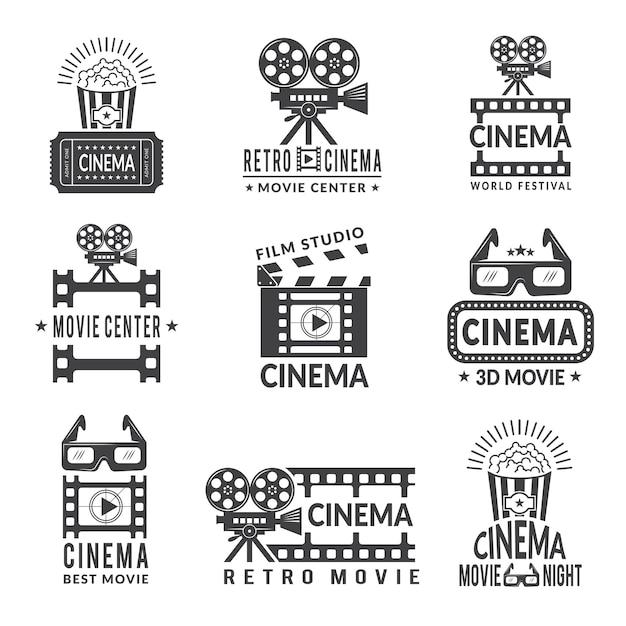 Zestaw Etykiet Wideo, Odznaki Produkcji Kinowej W Stylu Monochromatycznym Premium Wektorów