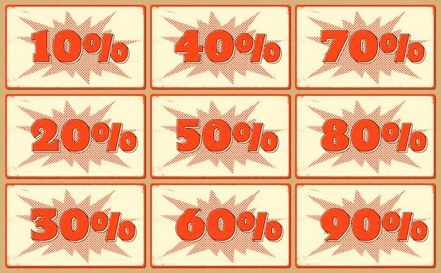 Zestaw Etykiet Z Procentami Sprzedaży Premium Wektorów