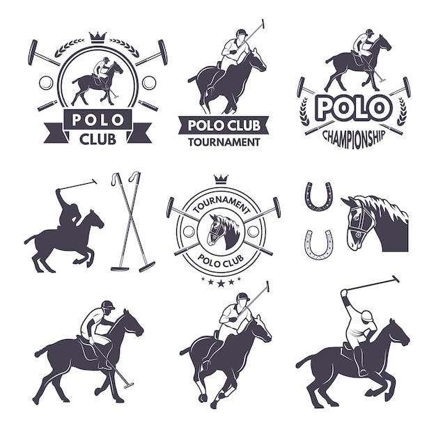 Zestaw etykiet zawodów sportowych dla gier polo Premium Wektorów
