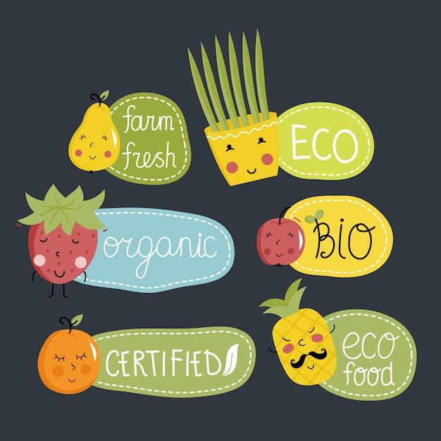 Zestaw etykiet żywności ekologicznej, ekologicznej i bio. Premium Wektorów
