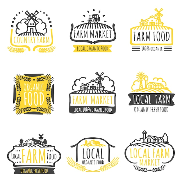 Zestaw Etykiet żywności Ekologicznej Na Rynku Ręcznie Rysowane Gospodarstwa Premium Wektorów