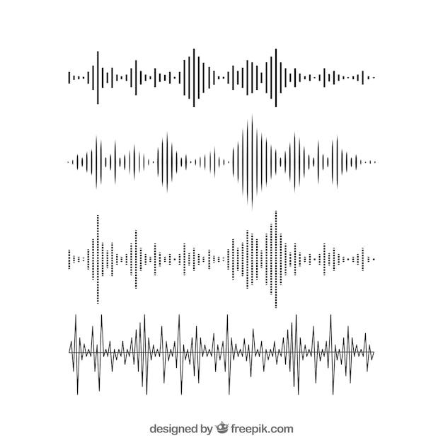 Zestaw Fal Dźwiękowych W Płaskiej Obudowie Premium Wektorów
