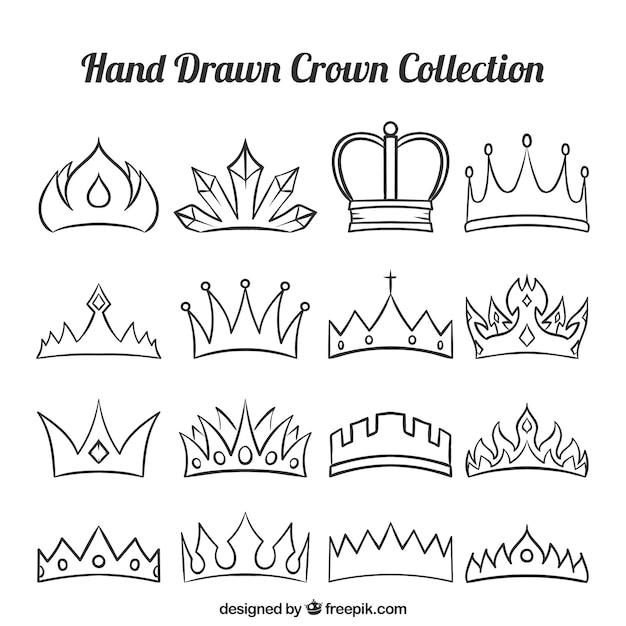 Zestaw Fantastycznych Koron Ręcznie Malowanych Darmowych Wektorów