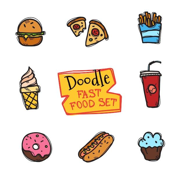 Zestaw fast food w stylu doodle. ładna ręcznie rysowane zbiór ikon przekąsek Premium Wektorów