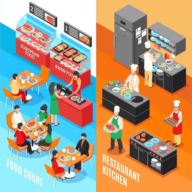 Zestaw fastfood kitchen banners Darmowych Wektorów