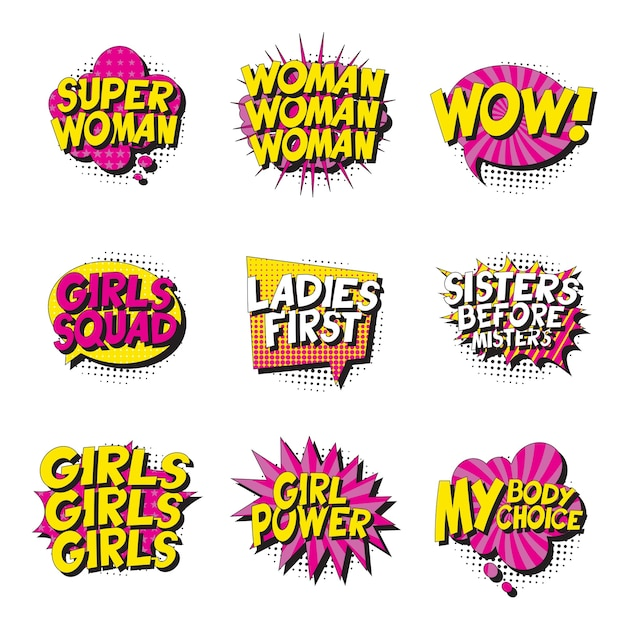 Zestaw Feministycznych Haseł W Stylu Retro Pop-art W Komiksach Dymki Na Białym Tle. Premium Wektorów