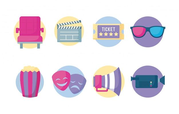 Zestaw filmów kinowych Premium Wektorów