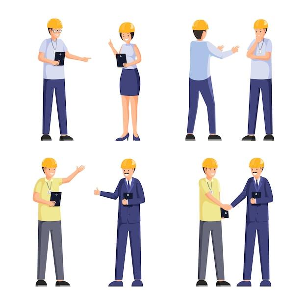 Zestaw firmy płaskie pracowników budowlanych ilustracje Premium Wektorów