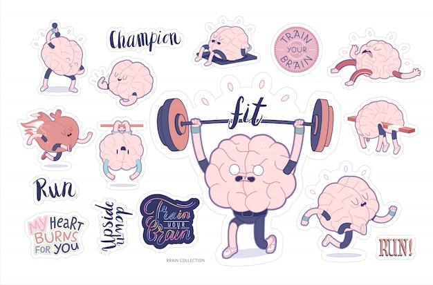 Zestaw fitness do naklejek mózgu Premium Wektorów