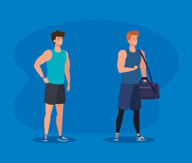 Zestaw Fitness Mężczyzn Z Torbą Do ćwiczeń Premium Wektorów