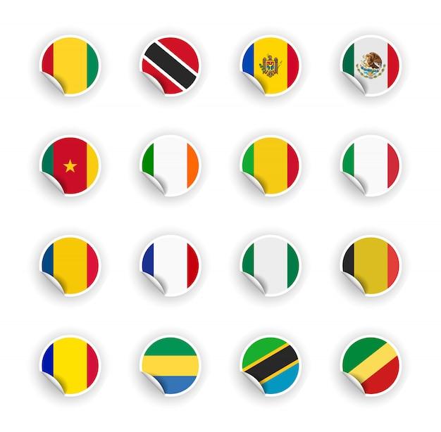 Zestaw Flag Kraju W Naklejki Premium Wektorów