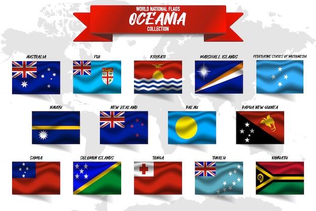 Zestaw Flag Narodowych Kraju Oceanii Na Tle Mapy świata. Premium Wektorów