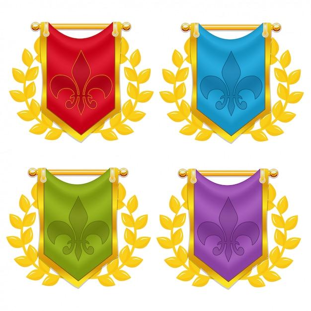 Zestaw Flaga Rycerza Z Wawrzyn I Symbol Premium Wektorów