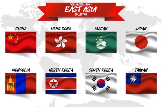 Zestaw Flagi Narodowej Kraju Azji Wschodniej Na Tle Mapy świata. Premium Wektorów
