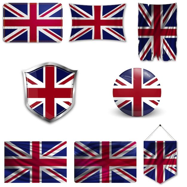 Zestaw flagi narodowej wielkiej brytanii Premium Wektorów