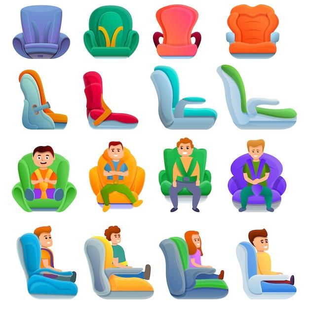Zestaw fotelików samochodowych dla dzieci, w stylu cartoon Premium Wektorów