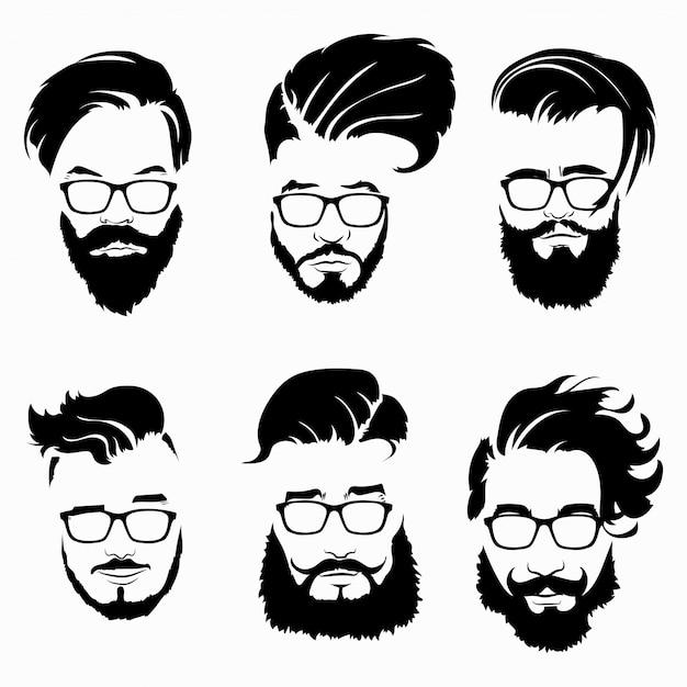 Zestaw Fryzur Dla Mężczyzn W Okularach. Kolekcja Czarnych Sylwetek Fryzur I Brody. Premium Wektorów
