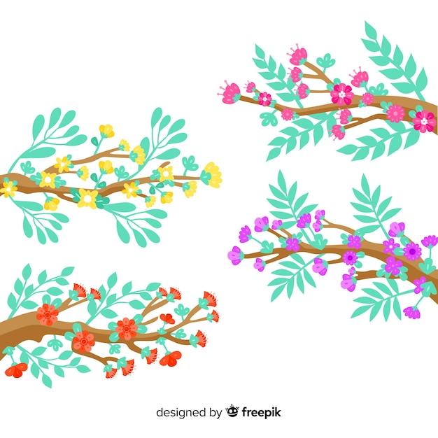 Zestaw Gałęzi I Kolorowych Kwiatów Darmowych Wektorów