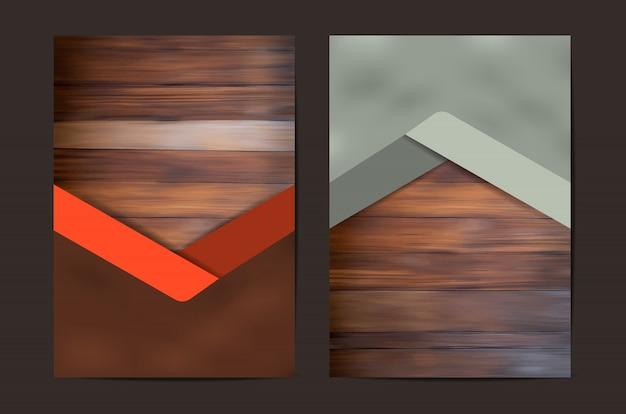 Zestaw Geometryczny Okładka Tekstury Drewna Premium Wektorów