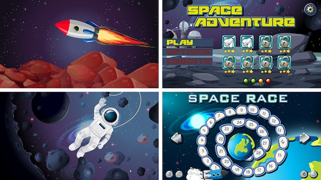Zestaw gier kosmicznych Darmowych Wektorów