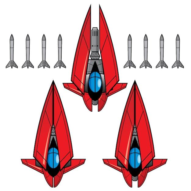 Zestaw gier red space fighter Premium Wektorów