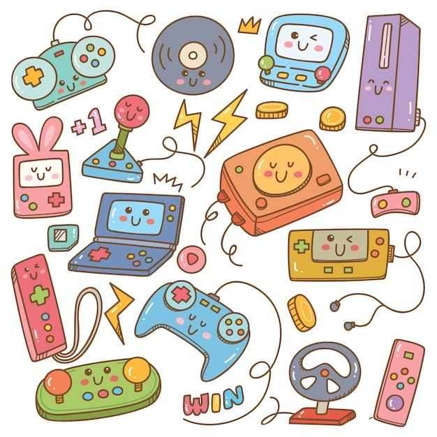 Zestaw gier wideo kawaii doodle Premium Wektorów