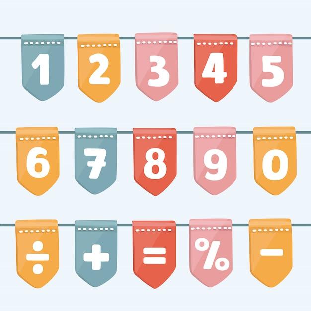 Zestaw Girlandy Flaga Kreskówka Z Alfabetu: Liter I Cyfr. Dobry Na Imprezy, Uroczystości, Festiwale, Targi, Targi, Imprezy I Karnawał. Premium Wektorów