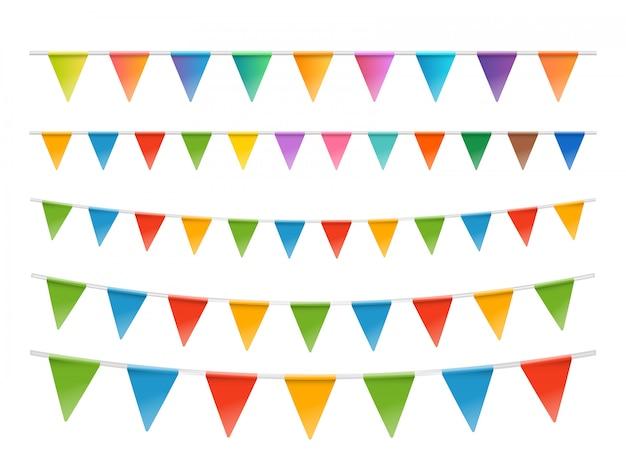 Zestaw girlandy kolorowe flagi na białym tle, Premium Wektorów