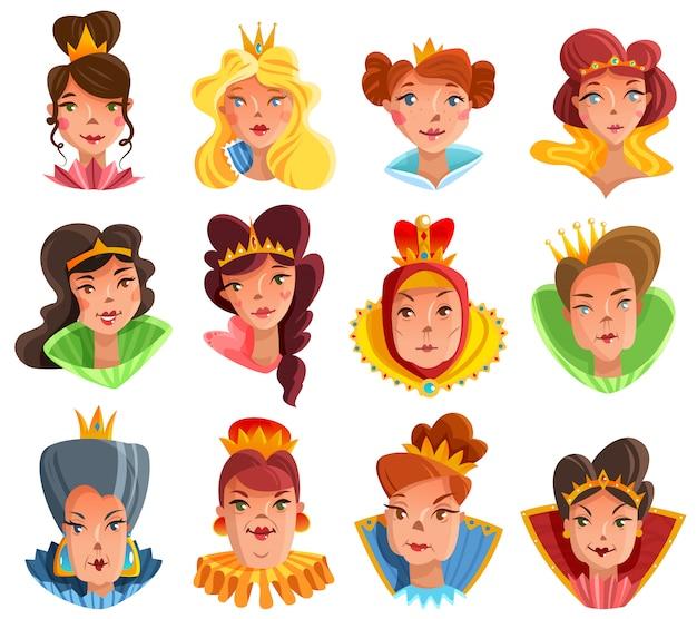Zestaw głów księżniczki i królowej Darmowych Wektorów