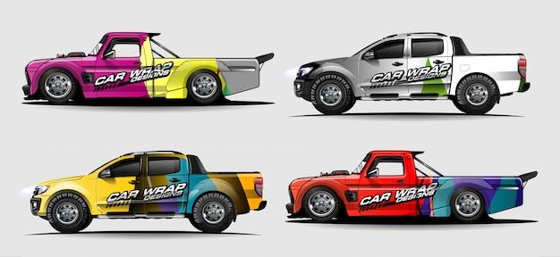 Zestaw Graficzny Pojazdu. Streszczenie Zakrzywione Tło Dla Projektowania Naklejek Samochodów Wyścigowych, Van I Ciężarówek Premium Wektorów