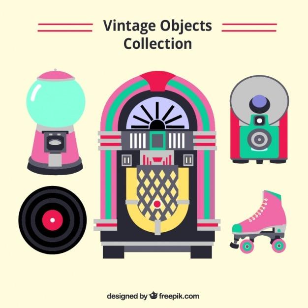 Zestaw Gramofonu I Innymi Elementami Odblaskowymi W Płaskiej Konstrukcji Darmowych Wektorów