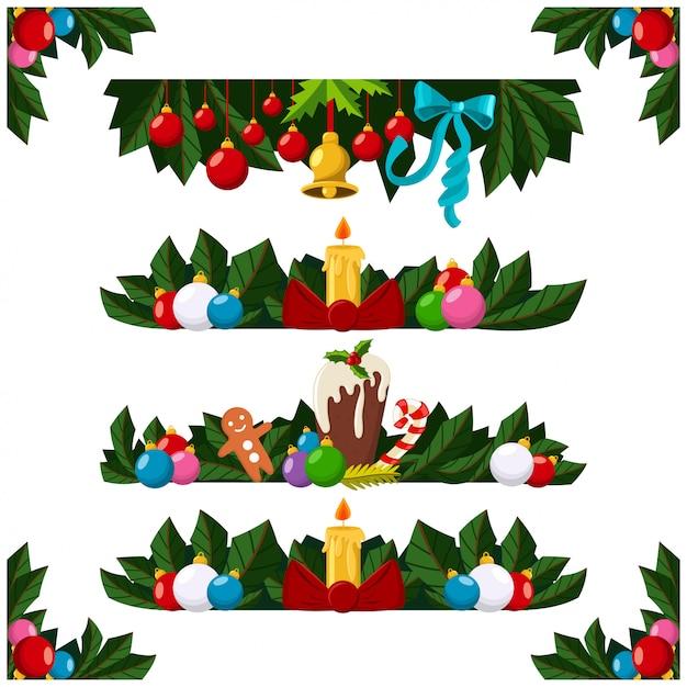 Zestaw granic świątecznych dekoracji Premium Wektorów