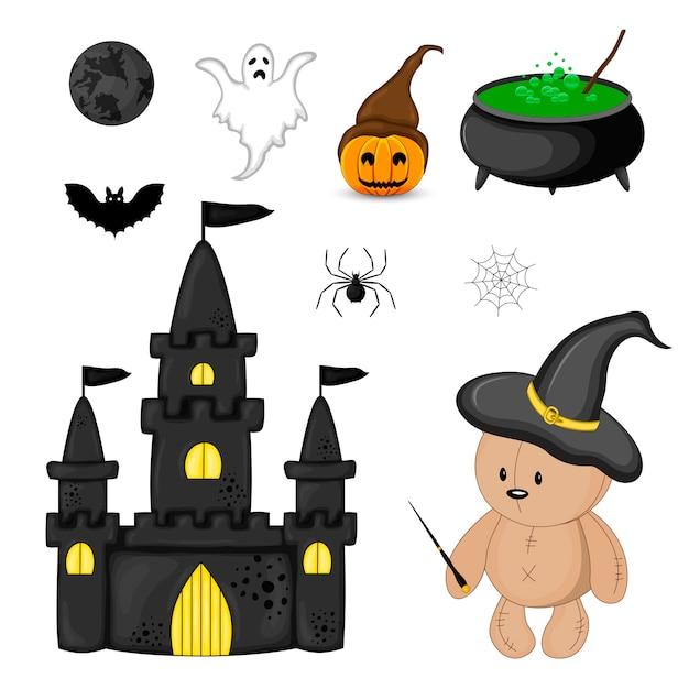Zestaw Halloween Z Tradycyjnymi Atrybutami. Styl Kreskówkowy. Wektor. Premium Wektorów