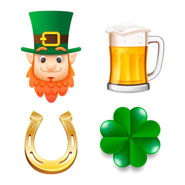 Zestaw Happy Saint Patrick's Day Premium Wektorów