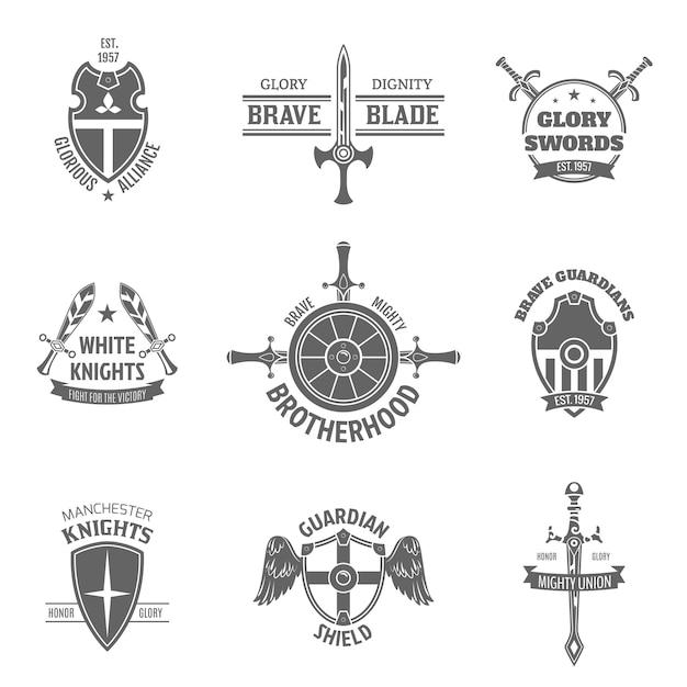 Zestaw heraldyczny herbu etykiety Darmowych Wektorów