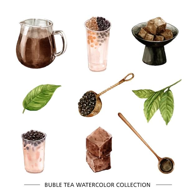 Zestaw Herbaty Akwarela I Ręcznie Rysowane Bańki Darmowych Wektorów