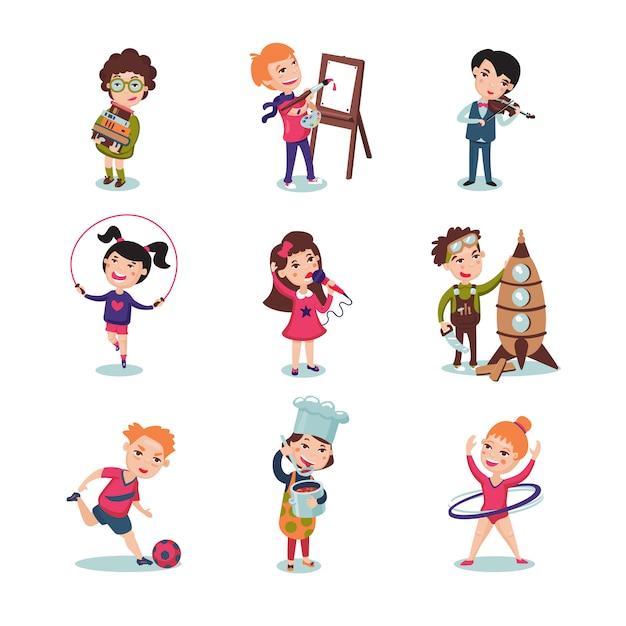 Zestaw Hobby Dzieci Darmowych Wektorów
