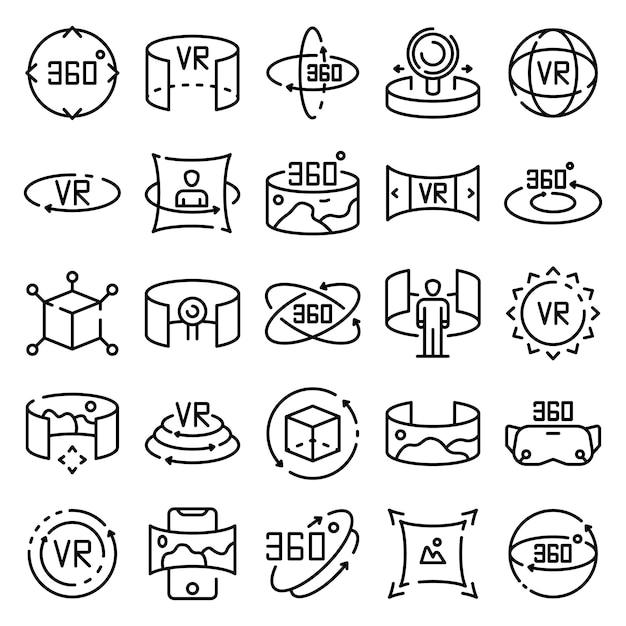 Zestaw ikon 360 stopni, styl konspektu Premium Wektorów
