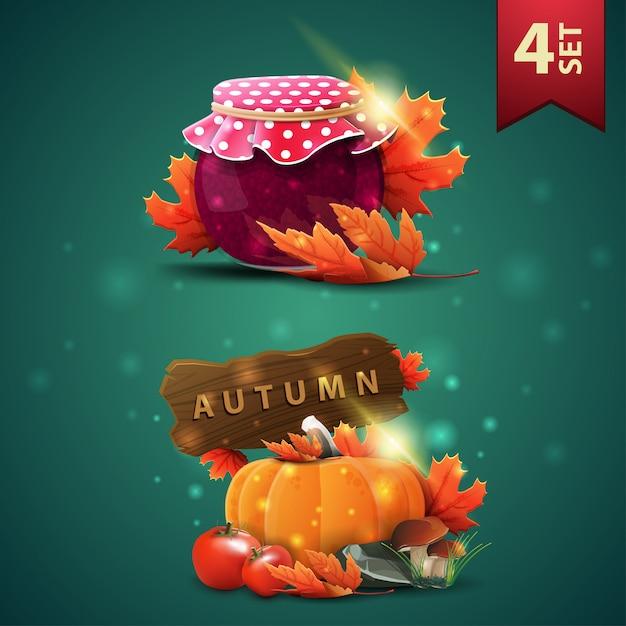 Zestaw ikon 3d jesieni, słoik dżemu, liście klonu, zbiór warzyw i drewniany znak Premium Wektorów