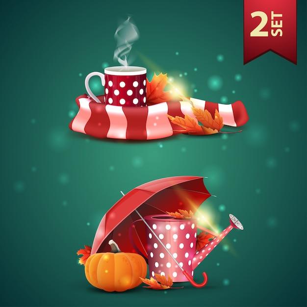 Zestaw ikon 3d z jesieni, kubek gorącej herbaty, ciepły szalik, konewka ogrodowa, parasol i dojrzała dynia Premium Wektorów