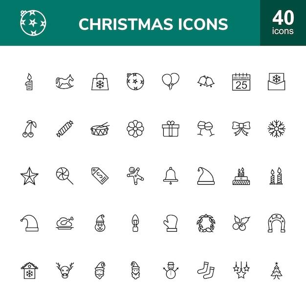 Zestaw Ikon 40 świątecznych Linii Premium Wektorów