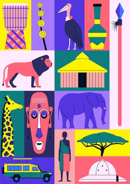 Zestaw Ikon Afryki. Bęben, Kwiat, Afrykański Ptak, Dzban, Włócznia, Lew, Dom, żyrafa, Maska, Słoń, Samochód, Ludzie, Drzewo, Kapelusz. Premium Wektorów