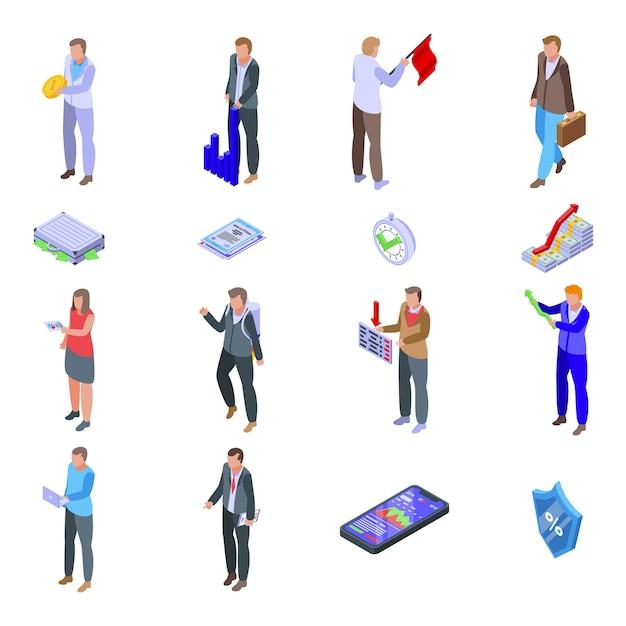 Zestaw Ikon Akcjonariuszy. Izometryczny Zestaw Ikon Akcjonariuszy Dla Sieci Web Na Białym Tle Premium Wektorów