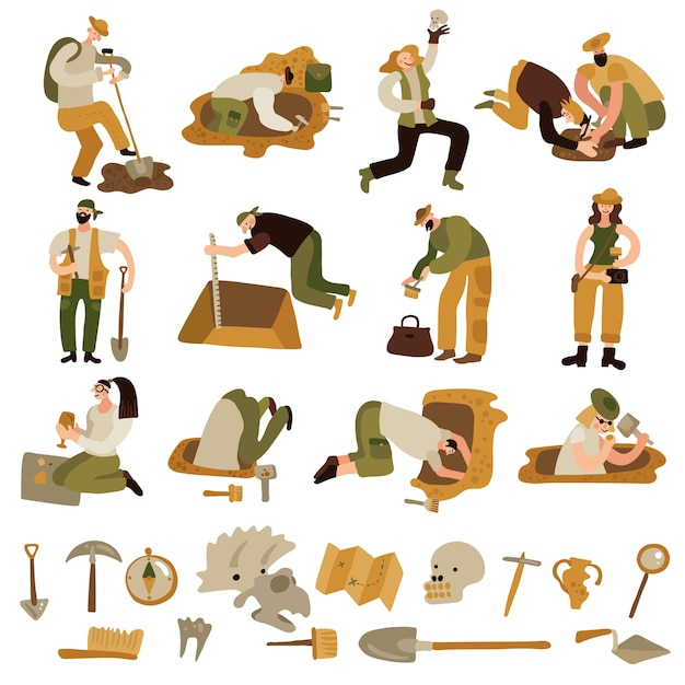 Zestaw Ikon Archeologii Z Symbolami Kości I Sprzętu Darmowych Wektorów
