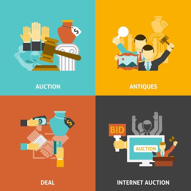Zestaw Ikon Aukcji Darmowych Wektorów