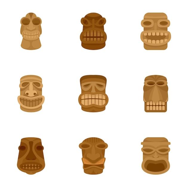 Zestaw Ikon Azteckiego Idola, Płaski Premium Wektorów